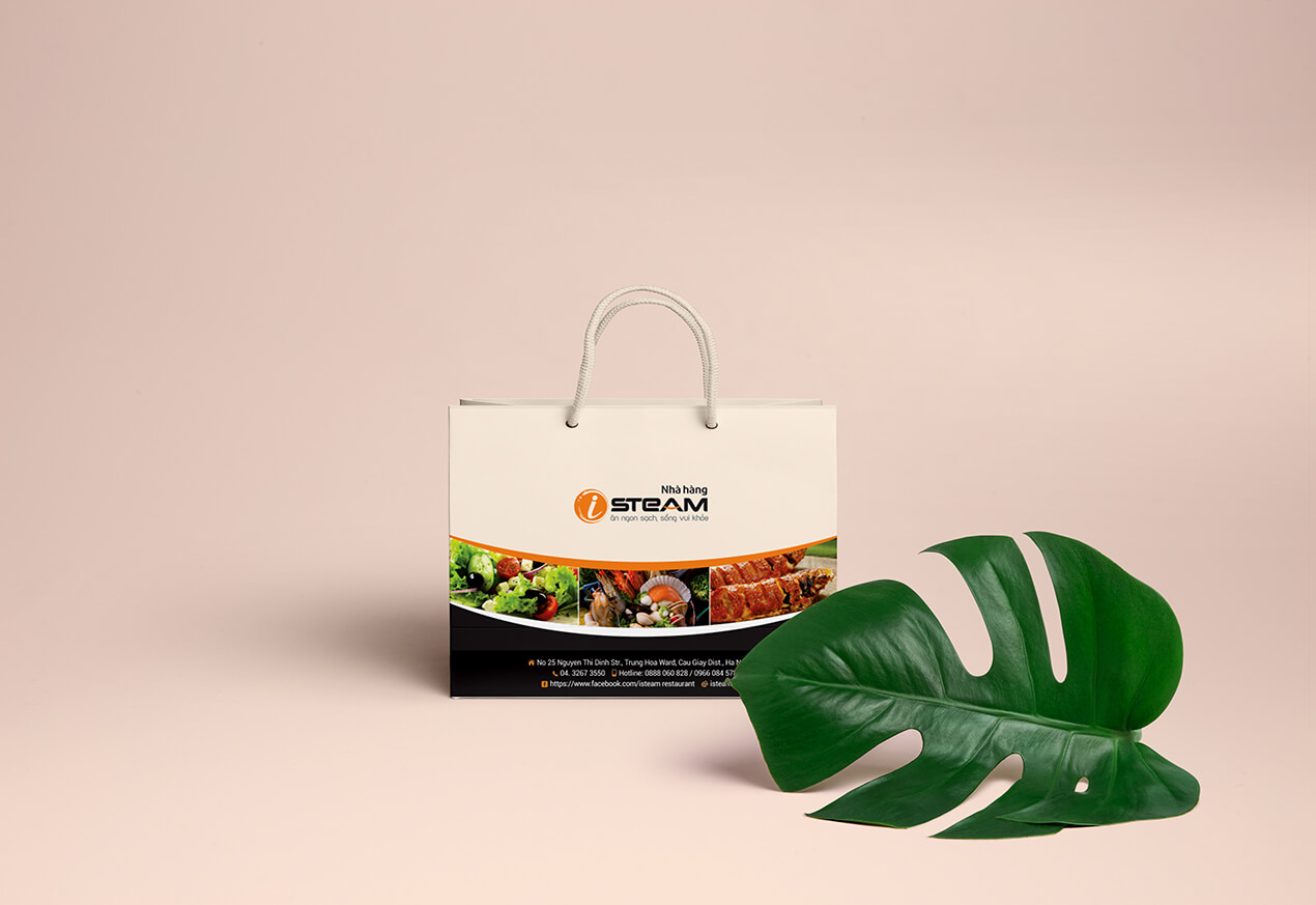 thiết kế túi giấy nhà hàng isteam